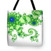 Intricate Green Blue Fractal Based On Julia Set Tote Bag