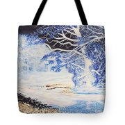 Inverted Lights At Trawscoed Aberystwyth Welsh Landscape Abstract Art Tote Bag