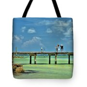 Investigating At Rod And Reel Pier Tote Bag