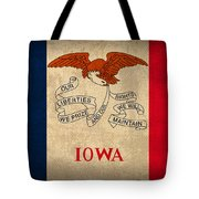 Iowa State Flag Art On Worn Canvas Tote Bag