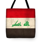 Iraq Flag Vintage Distressed Finish Tote Bag by Design Turnpike