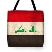Iraq Flag Vintage Distressed Finish Tote Bag