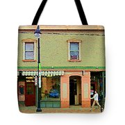Irenes's Pub And Ernesto's Barber Shop Bank St Shops In The Glebe Paintings Of Ottawa Cspandau  Tote Bag