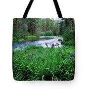 Iris Flowers By The Metolius River Tote Bag