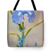 Iris With Forget Me Nots Tote Bag