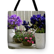 Irises And Impatiens Tote Bag