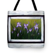 Irises And Old Boards - Weathered Wood Tote Bag