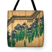 Irises At Yatsuhashi. Eight Bridges Tote Bag