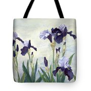 Irises Purple Flowers Painting Floral K. Joann Russell                                           Tote Bag