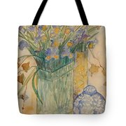 Irises With Chinese Pot Tote Bag
