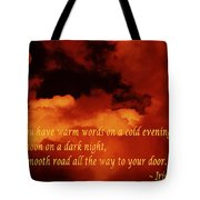 Irish Blessing On Orange Clouds And Full Moon Tote Bag