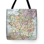 Irish Free State And Northern Ireland From Bacon S Excelsior Atlas Of The World Tote Bag by English School