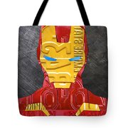 Iron Man Superhero Vintage Recycled License Plate Art Portrait Tote Bag