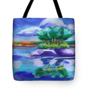 Island On The Lake Tote Bag