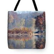 Island Reflected In The Potomac River Tote Bag