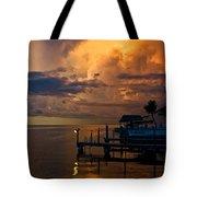 Tropical Island Storm Over Florida Keys Docks Tote Bag