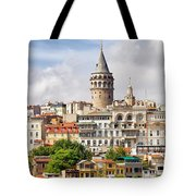 Istanbul Cityscape And Galata Tower Tote Bag