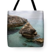 It Rocks 2 - Close To Son Bou Beach And San Tomas Beach Menorca Scupted Rocks And Turquoise Water Tote Bag