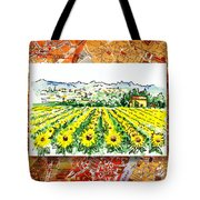 Italy Sketches Sunflowers Of Tuscany Tote Bag
