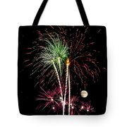 Its Raining Red Drops On The Red Flowers - Fireworks And Moon Tote Bag