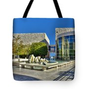 J. Paul Getty Museum Courtyard Fountains Blue Veined Marble Boulders Sculpture Tote Bag