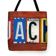 Jack License Plate Name Sign Fun Kid Room Decor Tote Bag