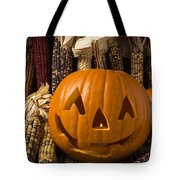 Jack-o-lantern And Indian Corn  Tote Bag