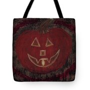 Jack O Lantern Set On A Dark Background With Glowing Flame Tote Bag