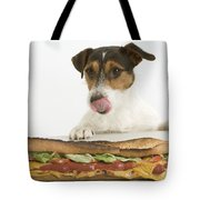 Jack Russell With Sandwich Tote Bag