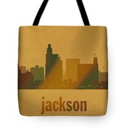 Jackson Mississippi City Skyline Watercolor On Parchment Tote Bag