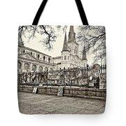 Jackson Square Winter Sepia Tote Bag