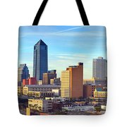 Jacksonville Skyline Morning Day Color Panorama Florida Tote Bag