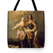 Peter I With Minerva With The Allegorical Figure Of Glory Tote Bag