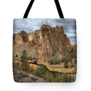 Jagged Peaks And River Reflections Tote Bag