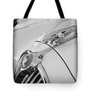 Jaguar Hood Ornament In Black And White Tote Bag
