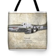 Janie P-51d Mustang - Map Background Tote Bag