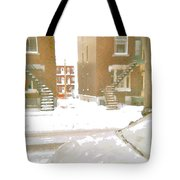 January Winter Street Winding Snow Covered Staircase Montreal Art Verdun Duplex Painting Cspandau Tote Bag