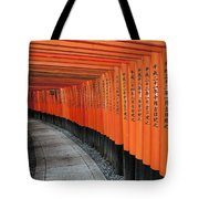 Japan, Red Columns Along Pathway Kyoto Tote Bag