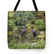 Japanese Bronze Cranes Sculpture By Pond Tote Bag