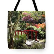 Japanese Garden Bridge With Rhododendrons Tote Bag