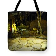 Japanese Garden Simple Shrine Lit At Night 01 Tote Bag