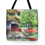 Japanese Garden With Red Bridge Tote Bag