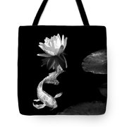 Japanese Koi Fish And Water Lily Flower Black And White Tote Bag
