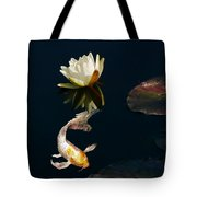 Japanese Koi Fish And Water Lily Flower Tote Bag