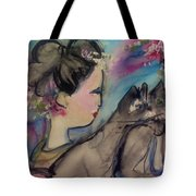 Japanese Lady And Felines Tote Bag