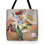 Japanese Vase With Roses And Anemones Tote Bag