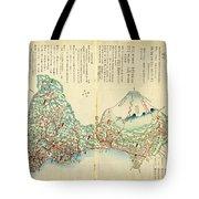 Japanese Wood Block Map Showing Mt Fuji 1830s Tote Bag