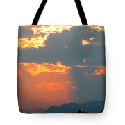 Japanese Zero Fighter Plane Taking Off At Sunset Tote Bag