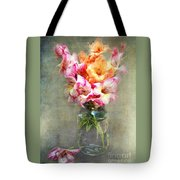 Jar Of Gladiolas Tote Bag