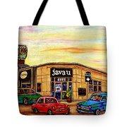 Java U Cafe Jean Talon Car Wash Coffee Shop Depanneur Montreal Art Sale Cspandau                     Tote Bag